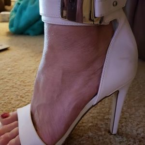 White ankle strap heels